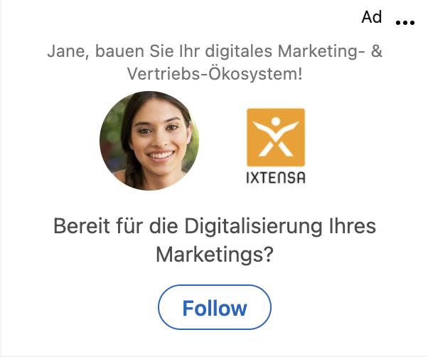 Darstellung einer Follower Ad auf LinkedIn