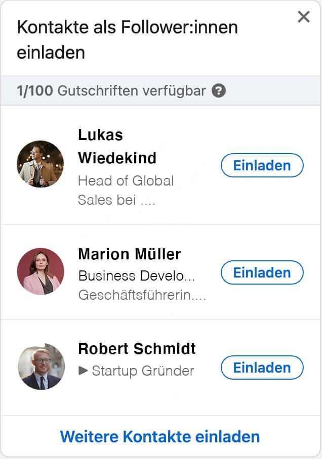Darstellung einer Followereinladung auf LinkedIn